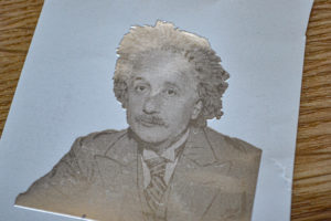 A sticker of Einstein