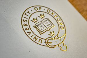 Gold foilage for university brochure